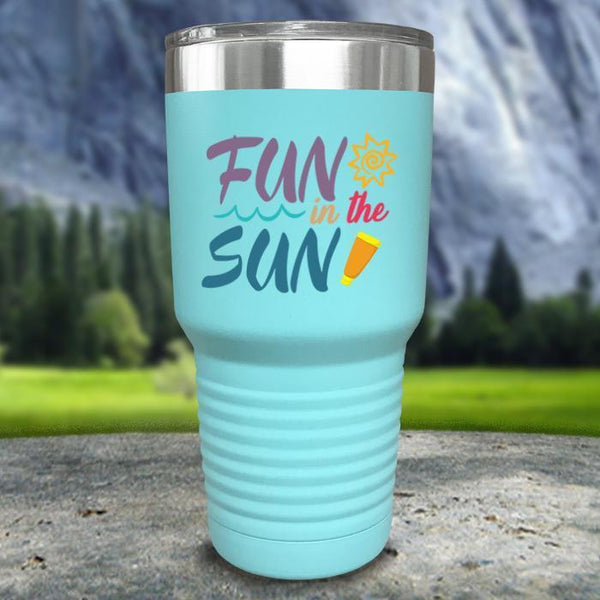 Fun In The Sun Color Printed Tumblers Tumbler Nocturnal Coatings 30oz Tumbler Mint