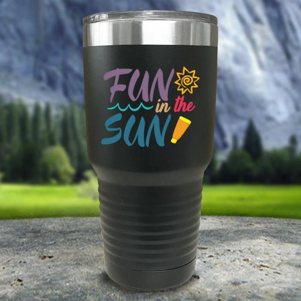 Fun In The Sun Color Printed Tumblers Tumbler Nocturnal Coatings 30oz Tumbler Black