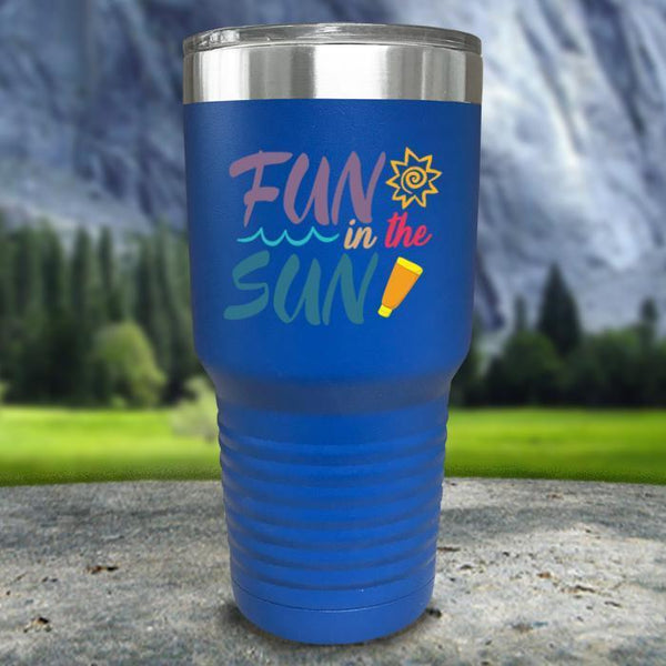 Fun In The Sun Color Printed Tumblers Tumbler Nocturnal Coatings 30oz Tumbler Blue