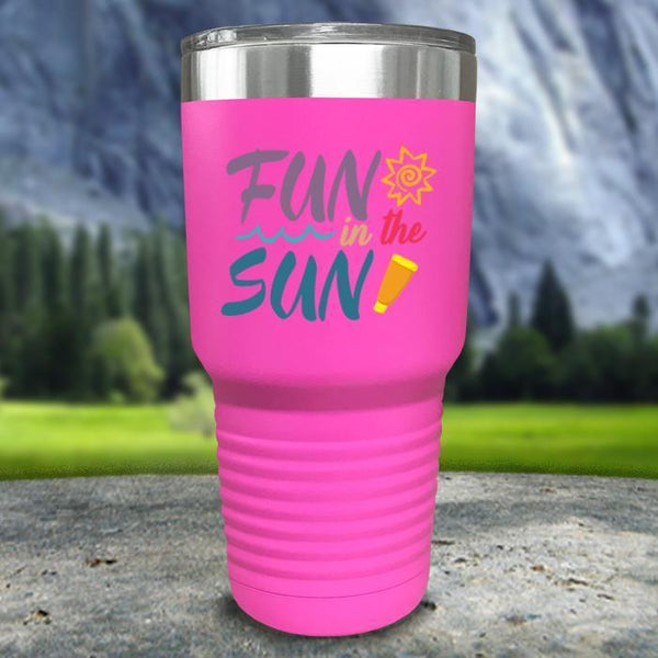 Fun In The Sun Color Printed Tumblers Tumbler Nocturnal Coatings 30oz Tumbler Pink