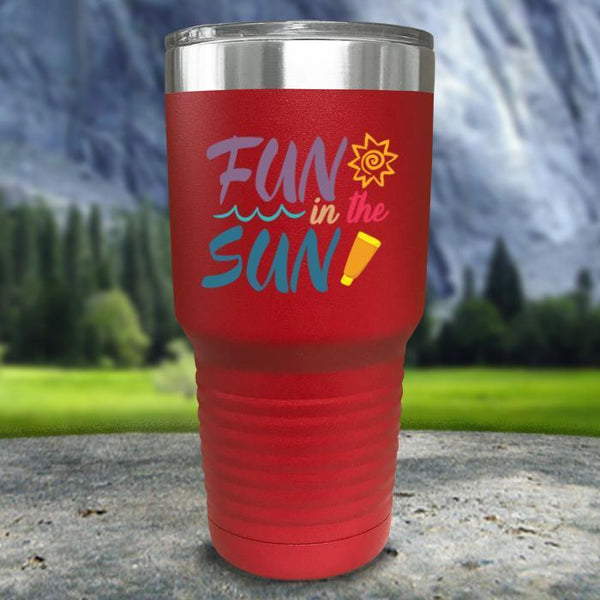 Fun In The Sun Color Printed Tumblers Tumbler Nocturnal Coatings 30oz Tumbler Red