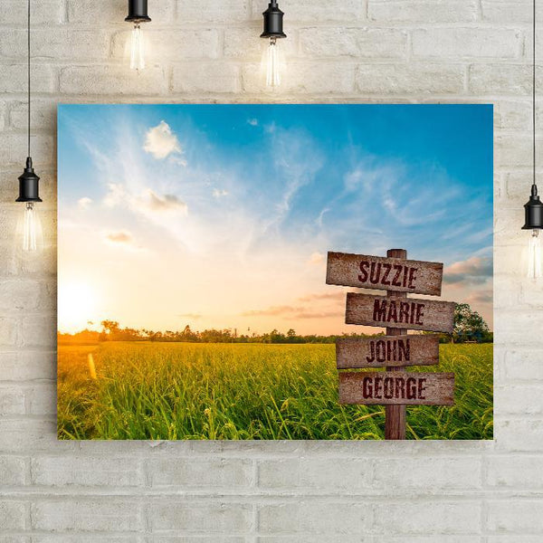 Personalized Grassland Sunset Premium Canvas