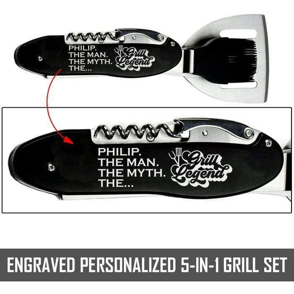 "5 in 1 Personalized ""The Grill Legend"" BBQ/Grilling Set BBQ Nocturnal Coatings Black 10.5"" BBQ/Grill Set"