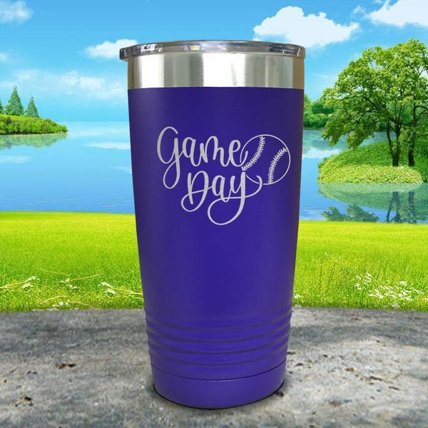 Gameday Engraved Tumbler Tumbler ZLAZER 20oz Tumbler Royal Purple