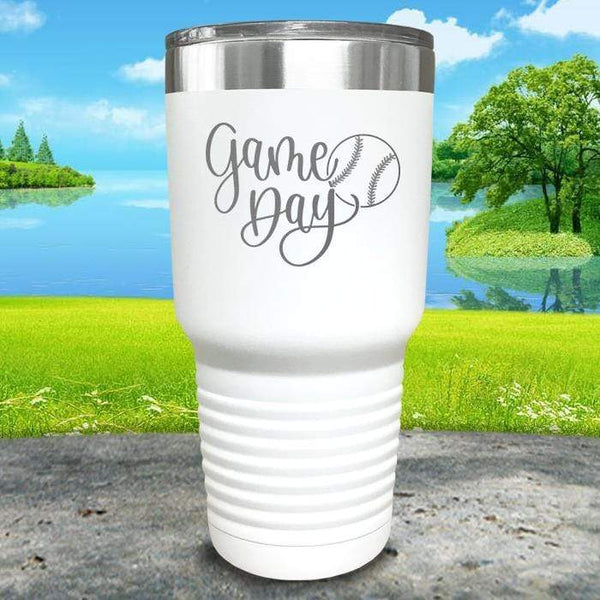 Gameday Engraved Tumbler Tumbler ZLAZER 30oz Tumbler White