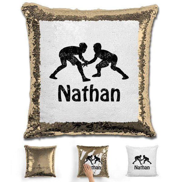 Wrestling Personalized Magic Sequin Pillow Pillow GLAM Gold Black