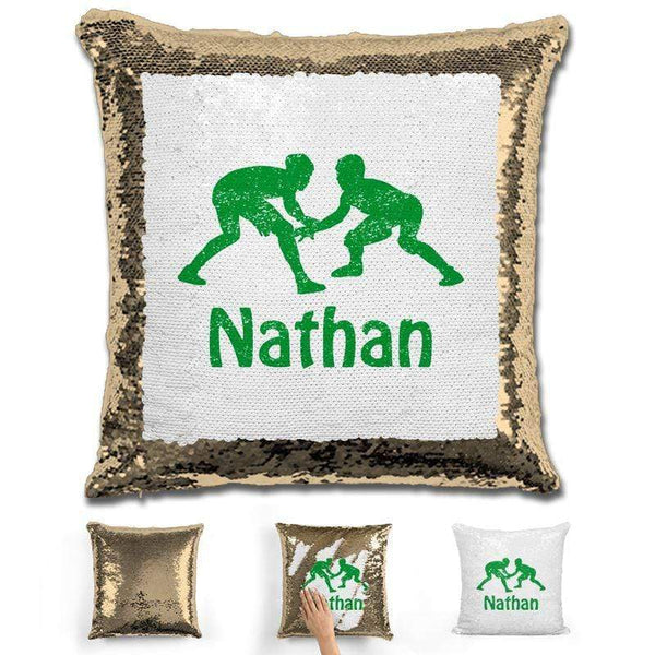 Wrestling Personalized Magic Sequin Pillow Pillow GLAM Gold Green