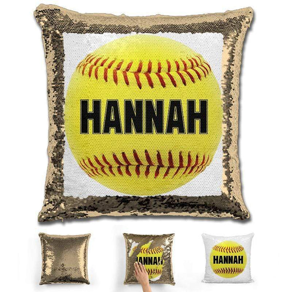 Softball Personalized Magic Sequin Pillow Pillow GLAM Gold Black