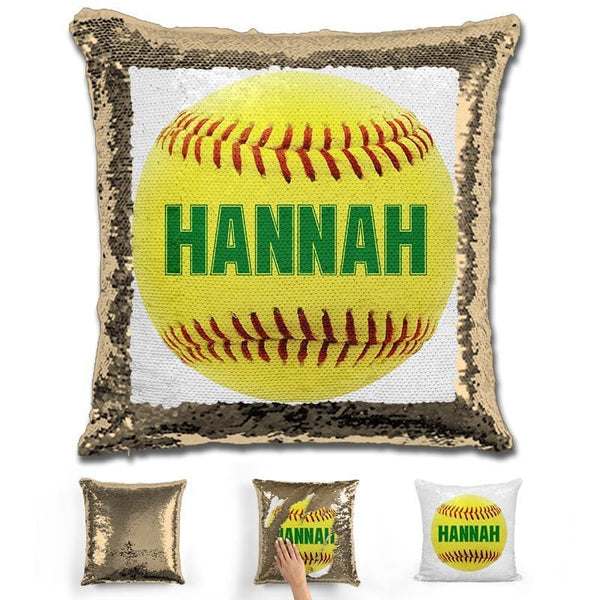 Softball Personalized Magic Sequin Pillow Pillow GLAM Gold Green