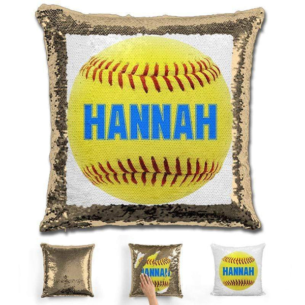 Softball Personalized Magic Sequin Pillow Pillow GLAM Gold Light Blue