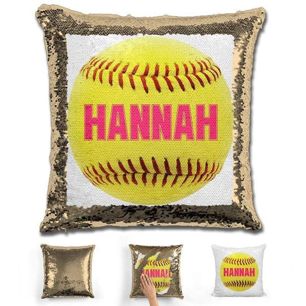 Softball Personalized Magic Sequin Pillow Pillow GLAM Gold Pink
