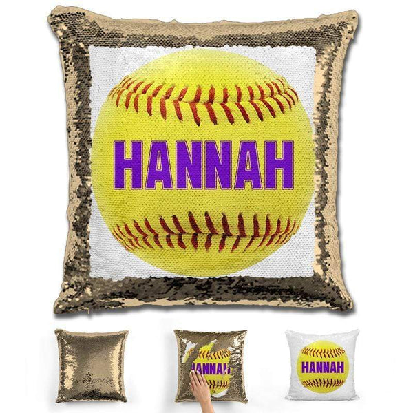 Softball Personalized Magic Sequin Pillow Pillow GLAM Gold Purple