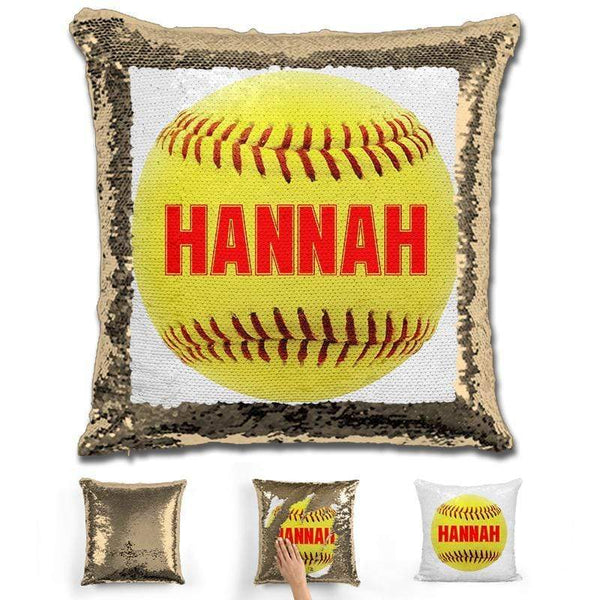 Softball Personalized Magic Sequin Pillow Pillow GLAM Gold Red
