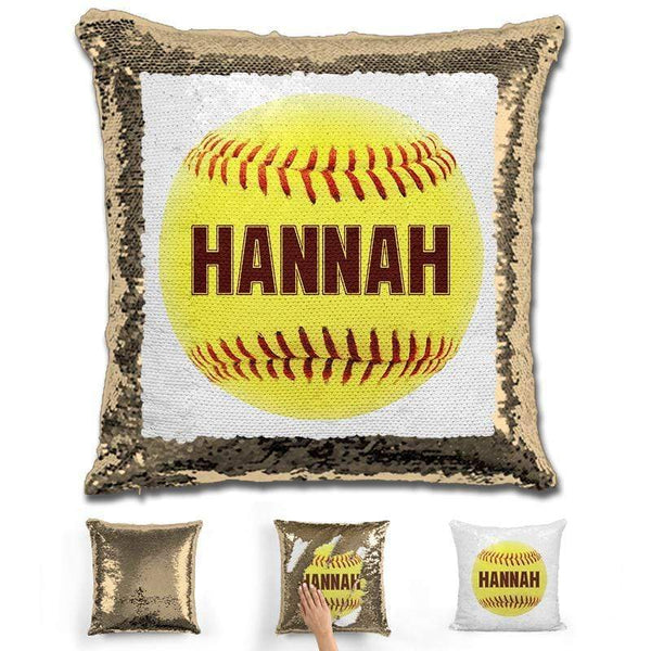 Softball Personalized Magic Sequin Pillow Pillow GLAM Gold Maroon