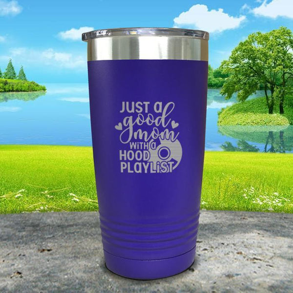 Just a Good Mom With a Hood Playlist Engraved Tumbler Tumbler ZLAZER 20oz Tumbler Royal Purple