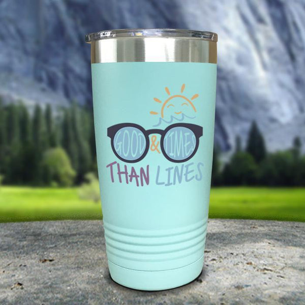 Good Times And Tan Lines Color Printed Tumblers Tumbler Nocturnal Coatings 20oz Tumbler Mint
