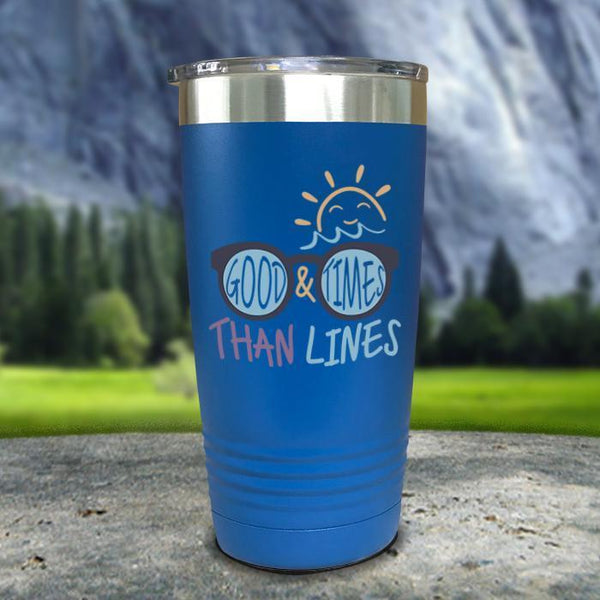 Good Times And Tan Lines Color Printed Tumblers Tumbler Nocturnal Coatings 20oz Tumbler Blue