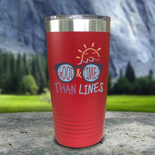 Good Times And Tan Lines Color Printed Tumblers Tumbler Nocturnal Coatings 20oz Tumbler Red
