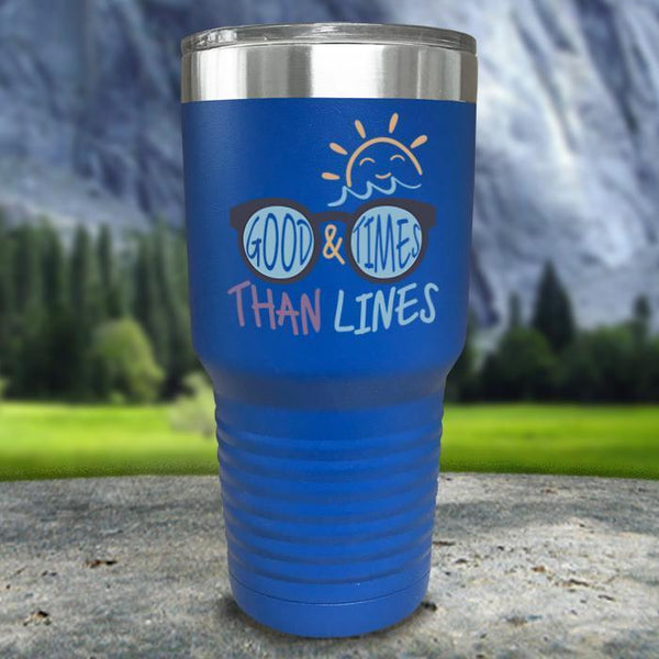 Good Times And Tan Lines Color Printed Tumblers Tumbler Nocturnal Coatings 30oz Tumbler Blue