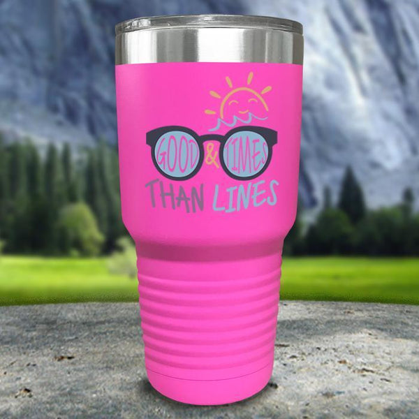 Good Times And Tan Lines Color Printed Tumblers Tumbler Nocturnal Coatings 30oz Tumbler Pink