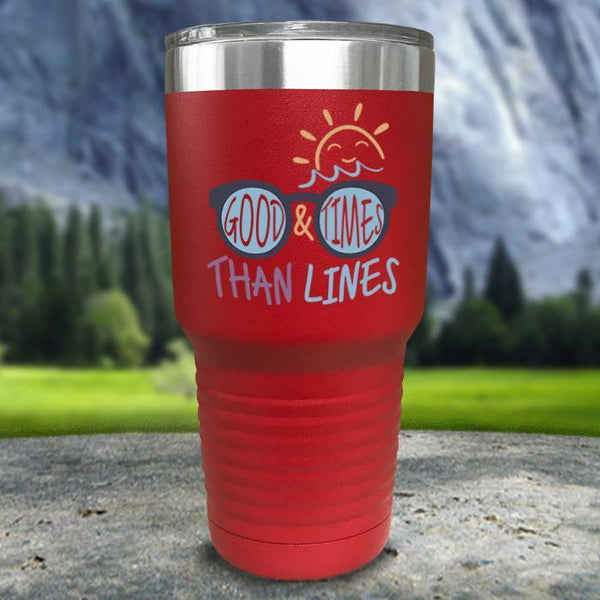 Good Times And Tan Lines Color Printed Tumblers Tumbler Nocturnal Coatings 30oz Tumbler Red