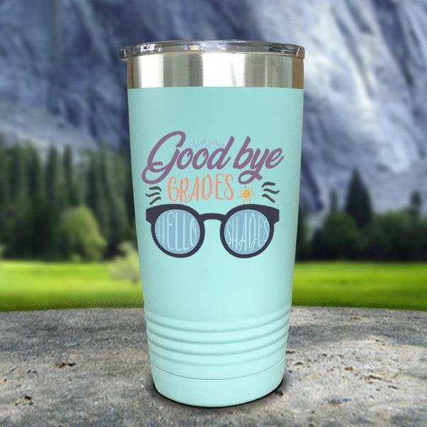 Goodbye Grades and Hello Shades Color Printed Tumblers Tumbler Nocturnal Coatings 20oz Tumbler Mint