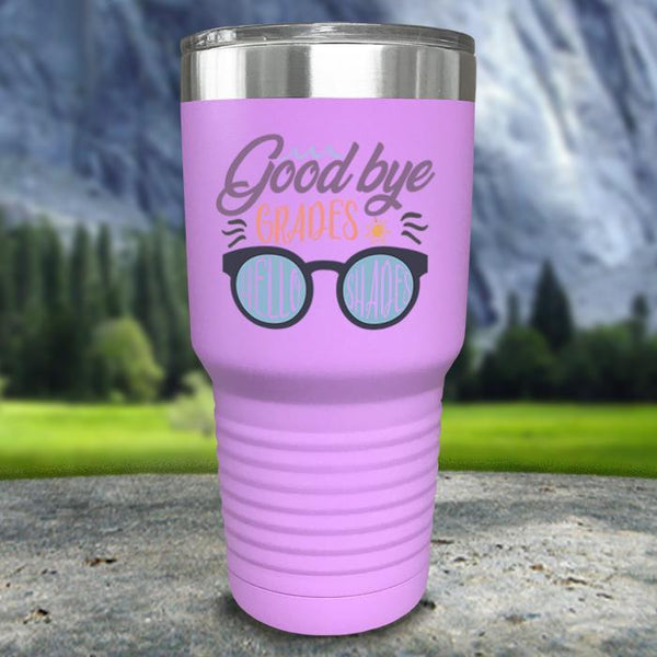 Goodbye Grades and Hello Shades Color Printed Tumblers Tumbler Nocturnal Coatings 30oz Tumbler Lavender