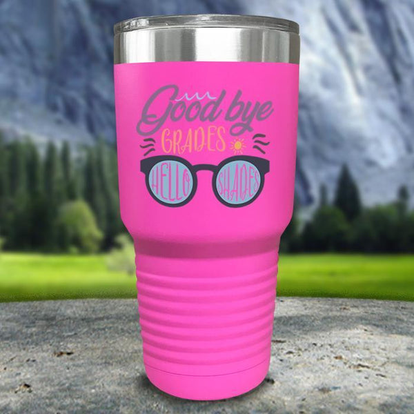 Goodbye Grades and Hello Shades Color Printed Tumblers Tumbler Nocturnal Coatings 30oz Tumbler Pink