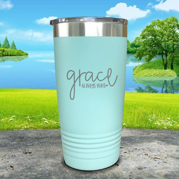 Copy of Grace always Wins Engraved Tumbler Tumbler ZLAZER 20oz Tumbler Mint