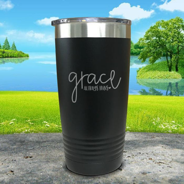 Copy of Grace always Wins Engraved Tumbler Tumbler ZLAZER 20oz Tumbler Black
