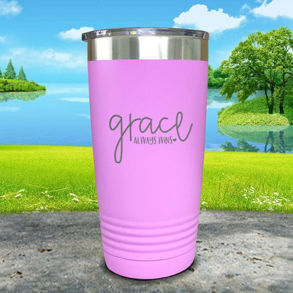 Copy of Grace always Wins Engraved Tumbler Tumbler ZLAZER 20oz Tumbler Lavender