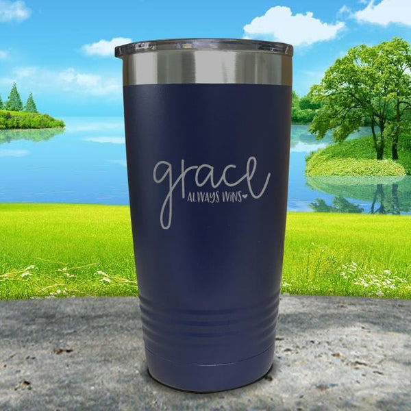 Copy of Grace always Wins Engraved Tumbler Tumbler ZLAZER 20oz Tumbler Navy