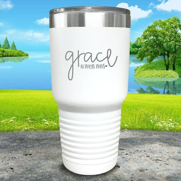 Copy of Grace always Wins Engraved Tumbler Tumbler ZLAZER 30oz Tumbler White