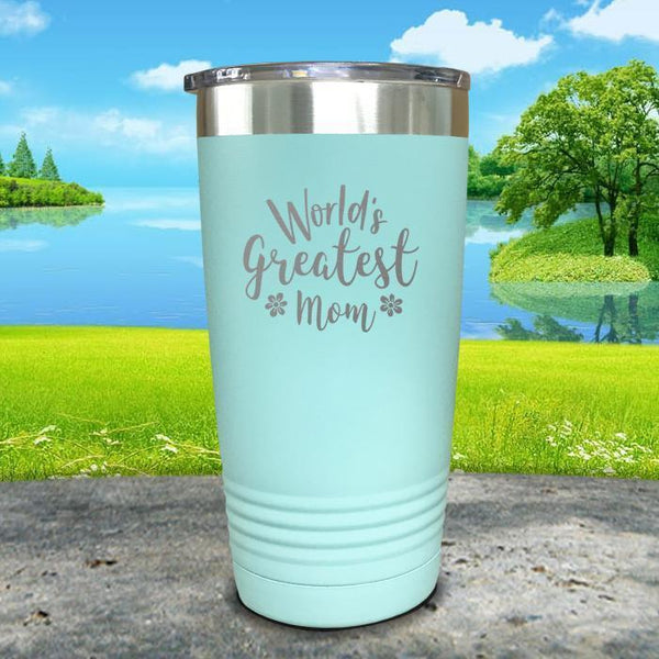 Worlds Greatest Mom Engraved Tumbler Tumbler ZLAZER 20oz Tumbler Mint