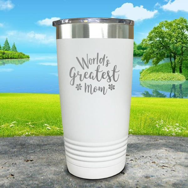 Worlds Greatest Mom Engraved Tumbler Tumbler ZLAZER 20oz Tumbler White