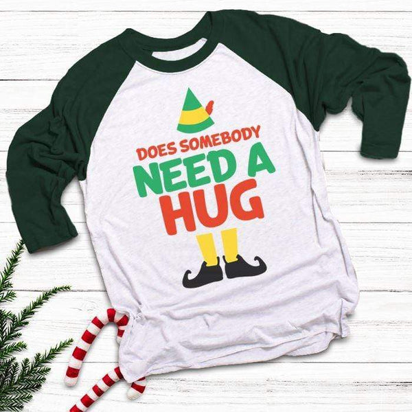 Somebody Need A Hug Raglan T-Shirts CustomCat White/Forest X-Small