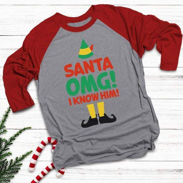 Santa I Know Him Raglan T-Shirts CustomCat Heather Grey/Red X-Small