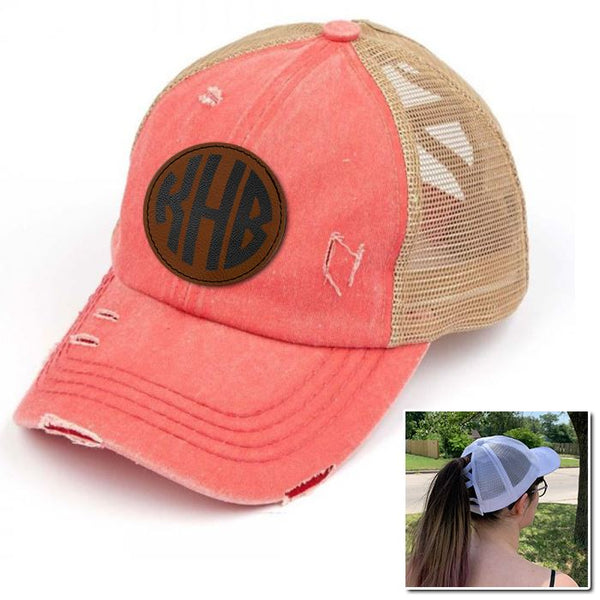Personalized Monogram (Leather Patch) Ponytail Premium Hat