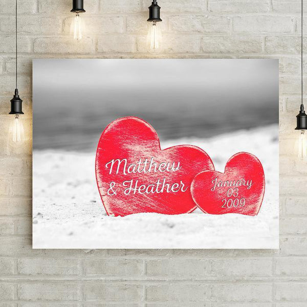 "Silhouette Of Love White Background Personalized 24x16"" Canvas-LemonsAreBlue"