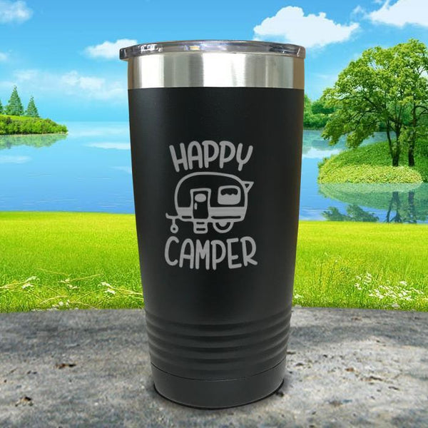 Happy Camper Engraved Tumbler Tumbler ZLAZER 20oz Tumbler Black