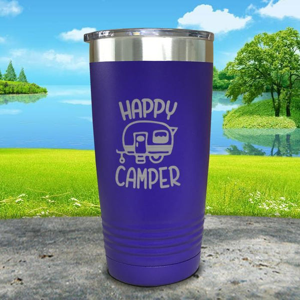Happy Camper Engraved Tumbler Tumbler ZLAZER 20oz Tumbler Royal Purple