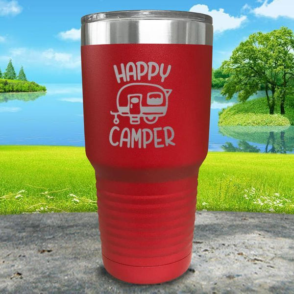 Happy Camper Engraved Tumbler Tumbler ZLAZER 30oz Tumbler Red