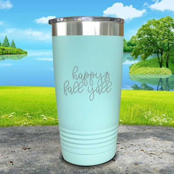 Happy Fall Y'all Engraved Tumbler Tumbler ZLAZER 20oz Tumbler Mint