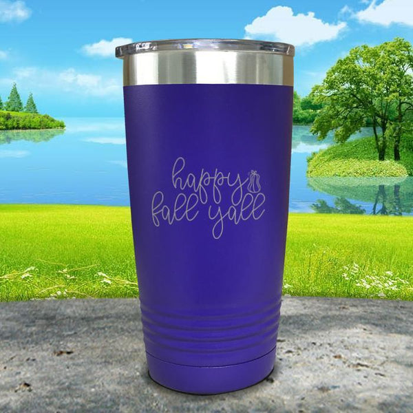 Happy Fall Y'all Engraved Tumbler Tumbler ZLAZER 20oz Tumbler Royal Purple