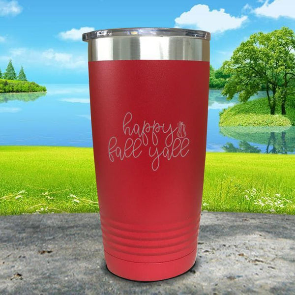Happy Fall Y'all Engraved Tumbler Tumbler ZLAZER 20oz Tumbler Red