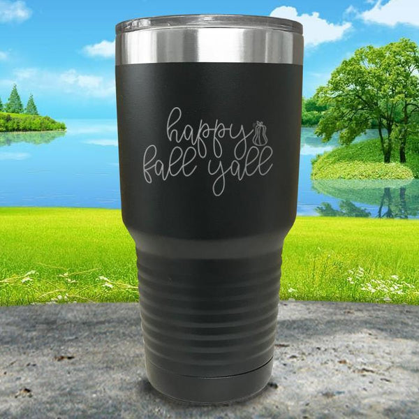 Happy Fall Y'all Engraved Tumbler Tumbler ZLAZER 30oz Tumbler Black