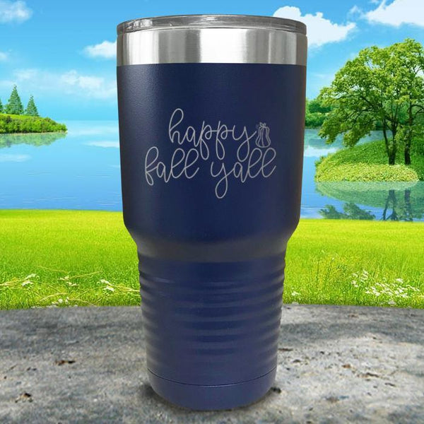 Happy Fall Y'all Engraved Tumbler Tumbler ZLAZER 30oz Tumbler Navy