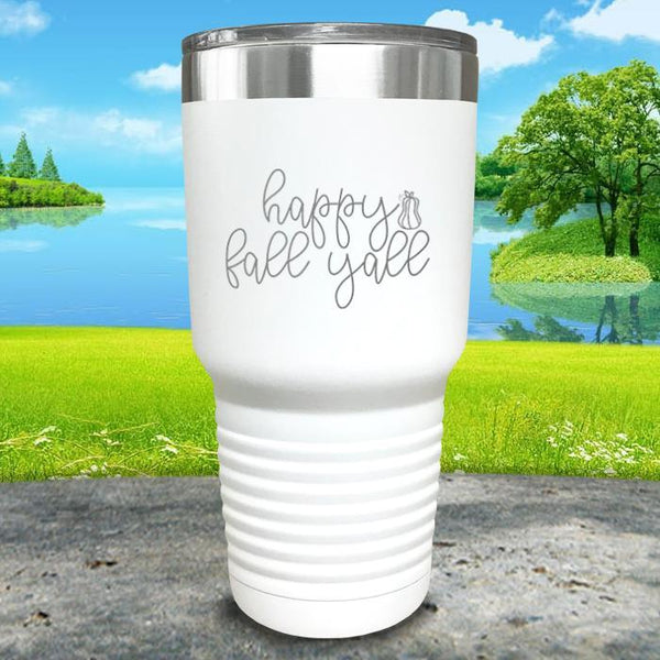 Happy Fall Y'all Engraved Tumbler Tumbler ZLAZER 30oz Tumbler White