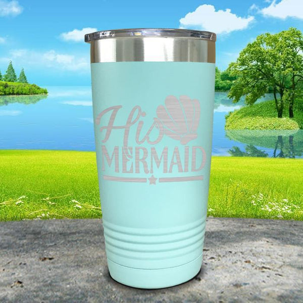 His Mermaid Engraved Tumbler Tumbler ZLAZER 20oz Tumbler Mint