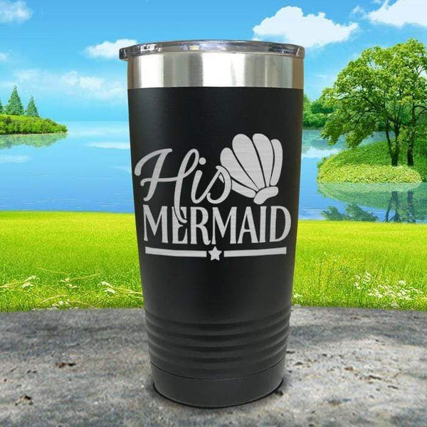 His Mermaid Engraved Tumbler Tumbler ZLAZER 20oz Tumbler Black